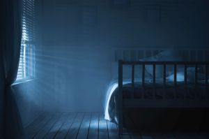 Bedroom with moonlight and smoke