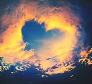Bright Heaven in a sunset, shape of Heart