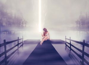 Lonely girl sitting on pier with ball of glowing light in hand