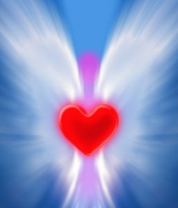 Angel holding a red heart on sky