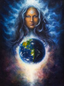 beautiful woman fluttering hair and space earth