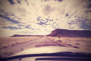 Vintage endless road, photo taken from front seat of a car, USA.