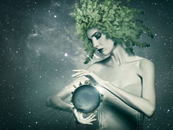 Holding the Planet, abstract eco backgrounds with beauty female